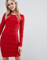 Superdry Bodycon Long Sleeve Dress Red