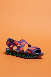 Camper Together With Bernhard Willhelm Striped Sandals Pink Purple