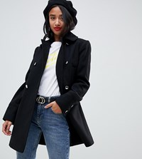 Miss Selfridge Petite Swing Coat In Black
