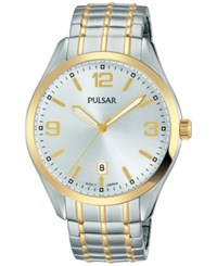 Pulsar Men's Traditional Two Tone Stainless Steel Expansion Bracelet Watch 41Mm Ps9490 Two Tone