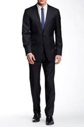 Vince Camuto Black Striped Two Button Notch Lapel Wool Suit