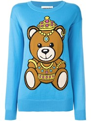 Moschino Bear Intarsia Jumper Blue