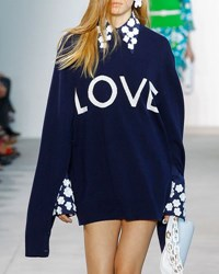 Michael Kors Love Oversized Crewneck Sweater Navy Blue