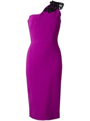 Victoria Beckham One Shoulder Midi Dress Pink And Purple