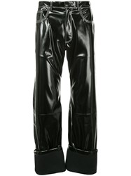 Wales Bonner Rubberised Turn Up Trousers Black