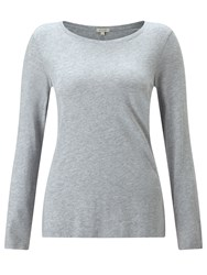 Jigsaw Pima Cotton Long Sleeve Crew Tee Light Grey