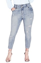 City Chic Plus Size Women's Asha Rip And Roll Jeans Light Denim