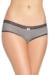 Betsey Johnson Women's Stretch Cotton Hipster Panty Mini Stripe Raven Black