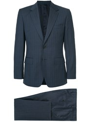 Gieves And Hawkes Two Piece Pinstripe Suit Blue