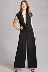 Forever 21 Plunging Cowl Neck Jumpsuit Black