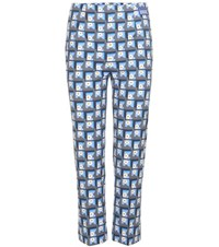 Prada Printed Stretch Cotton Cropped Trousers Multicoloured
