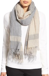 Women's Lafayette 148 New York 'Inspiring Stripe' Wool Scarf Beige Umber Grey