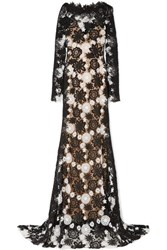 Naeem Khan Two Tone Guipure Lace Gown Black