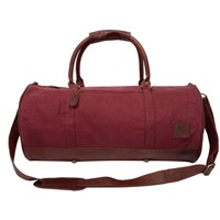 Mahi Leather Classic Duffle Overnight Gym Bag In Red Canvas