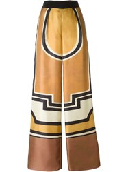 Alberta Ferretti Geometric Pattern Palazzo Pants Yellow And Orange