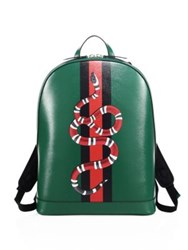 Gucci Snake Printed Leather Backpack Green