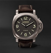 Officine Panerai Luminor Base 8 Days 44Mm Brushed Titanium And Alligator Watch Brown
