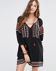 Denim And Supply Ralph Lauren By Embroidered Boho Dress With Tie Front Black