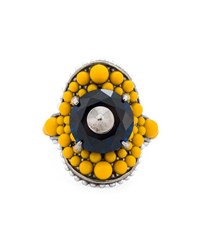 Gucci Multi Beaded Ring Yellow Navy Multi Bronze Turquoise White