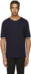 Lanvin Navy Pocket Stripe T Shirt