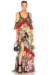 Roberto Cavalli Tiered Ruffle Dress In Animal Print Black Floral Green Metallics Pink Red Animal Print Black Floral Green Metallics Pink Red
