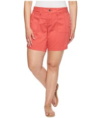 Jag Jeans Plus Size Somerset Relaxed Fit Shorts In Bay Twill Coral Spice Women's Shorts Orange