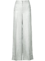 Les Copains Wide Leg Trousers Women Linen Flax Acetate 6 White
