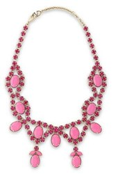 Valentino Gold Tone Crystal And Stone Necklace Pink