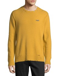Ovadia And Sons Leopard Distressed Sweater Gold