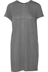 Alice Olivia Stefan Linen Blend Jersey Mini Dress Gray