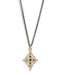 Armenta 18K Gold And Black Diamond Maltese Cross Pendant Necklace Gold Black Silver Multi Red