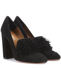 Aquazzura Wild Loafer 105 Suede Pumps Black