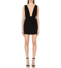 Anthony Vaccarello Plunging Neckline Stretch Crepe Dress Black