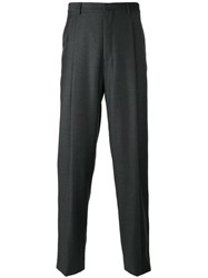 E. Tautz Pleated Tailored Trousers Silk Viscose Virgin Wool Grey