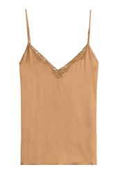 Mes Demoiselles Silk Camisole With Lace Brown