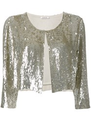 P.A.R.O.S.H. Cropped Sequin Cardigan Nude Neutrals
