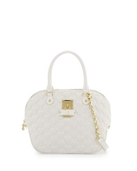Betsey Johnson Always Be Mine Faux Leather Dome Satchel Bag White
