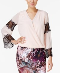Thalia Sodi Lace Trim Blouson Top Only At Macy's Pearl Blush