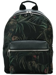 Paul Smith Ps By Floral Detail Backpack Men Calf Leather Leather Acrylic Polyamide One Size Black