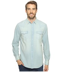 True Grit Long Sleeve Western Shirt W Hand Treated Wash Chambray Men's Clothing White