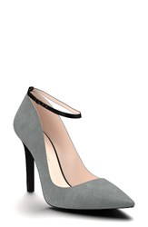 Shoes Of Prey Women's Ankle Strap Pump Dark Gray Suede