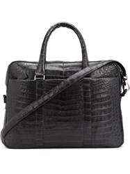 Santiago Gonzalez Crocodile Effect Embossed Laptop Bag Black