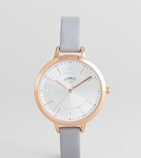 Limit Sunray Leather Watch In Grey Exclusive To Asos