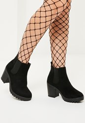 Missguided Black Cleated Sole Ankle Boots