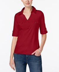 Karen Scott Cotton Roll Tab Sleeve Shirt Created For Macy's New Red Amore