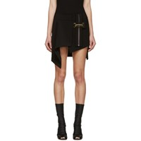 Anthony Vaccarello Black Belted Asymmetrical Skirt