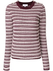 Carven Striped Crew Neck Jumper Cotton Acrylic Nylon Metallized Polyester Red