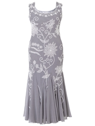 Chesca Embroidered Dress Grey Silver