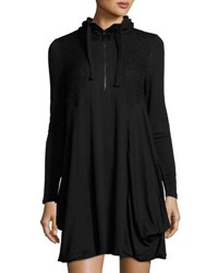 Kensie Scrunch Neck Jersey Dress Black