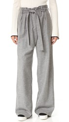Msgm Wool Tie Pants Grey